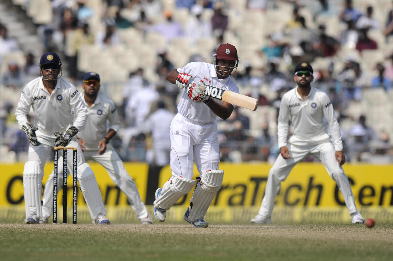 Kieran Powell of West Indies bats during day three of the first Star Sports test match between India and The West Indies held at The Eden Gardens Stadium in Kolkata, India on the 8th November 2013  Photo by: Pal Pillai - BCCI - SPORTZPICS