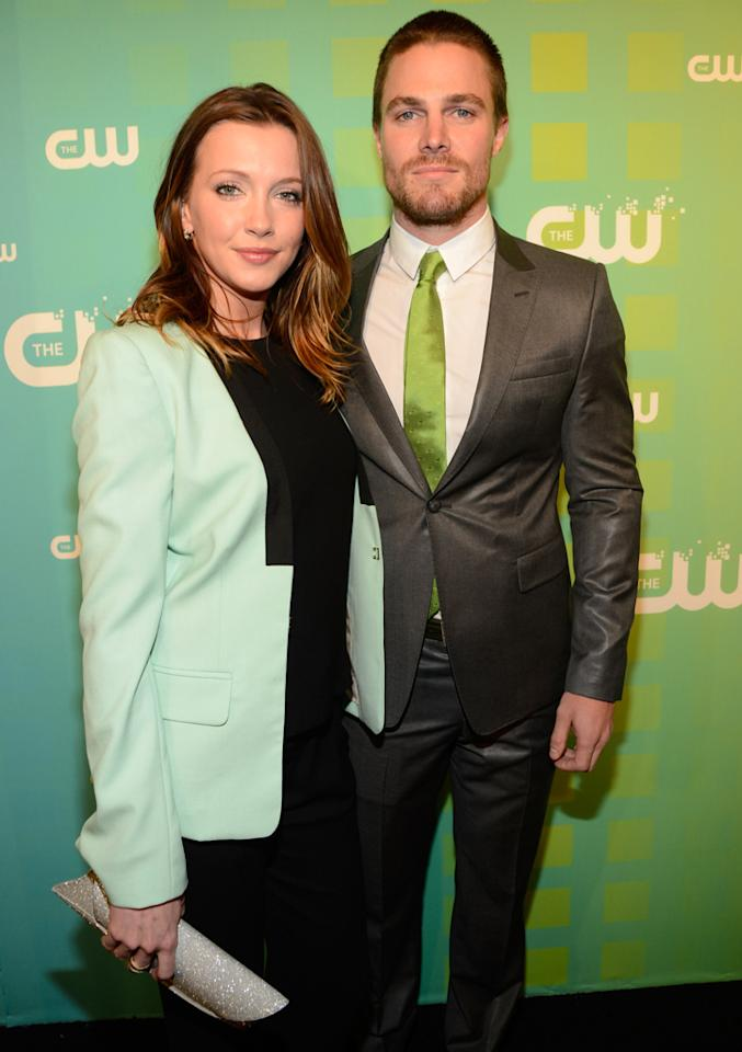"""Katie Cassidy and Stephen Amell (""""Arrow"""") attend The CW's 2012 Upfronts on May 17, 2012 in New York City."""
