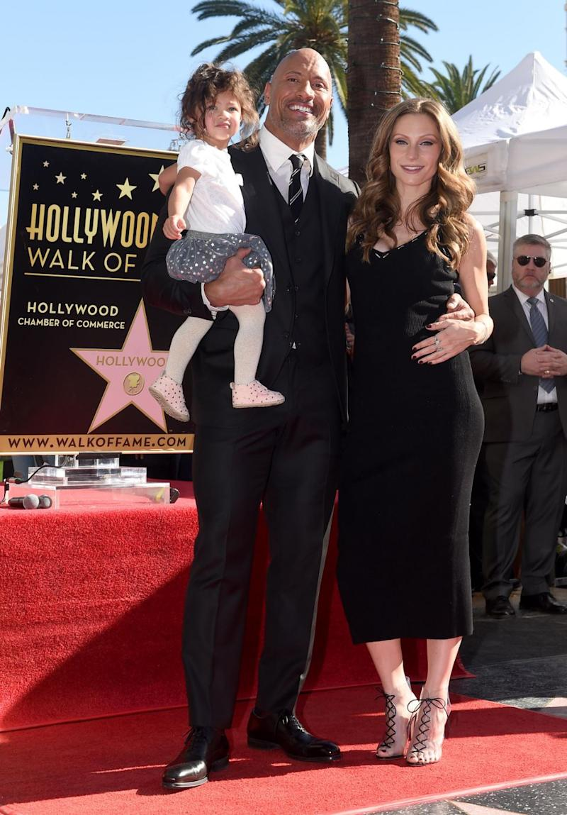 Dwayne, wife Lauren and daughter, Tiana at the unveiling of The Rock's star on the Walk of Fame. Source: Getty