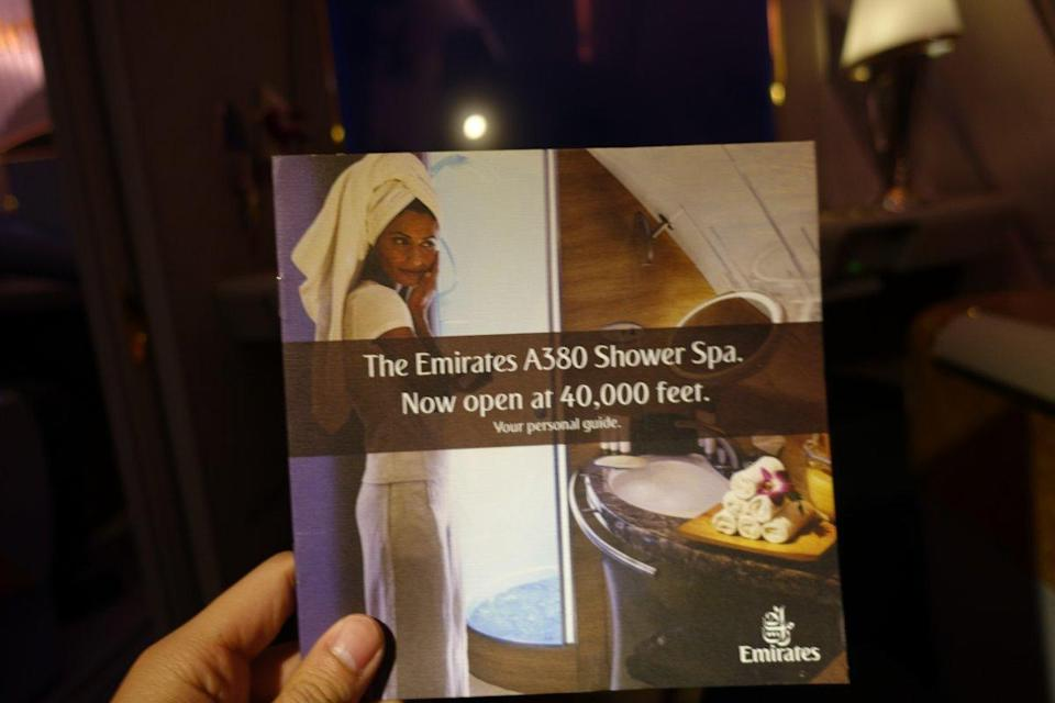 """<p>I then asked the flight attendant if I could partake in the highlight of any Emirates A380 First Class experience: the onboard shower. When it first launched, it was the cooler talk for everyone around the world. And now I was finally about to experience it. My ears were filled with joy when the flight attendant came over and said, """"Mr. Huang, your shower is ready."""" <i>(Photo: Sam Huang)</i><br></p>"""