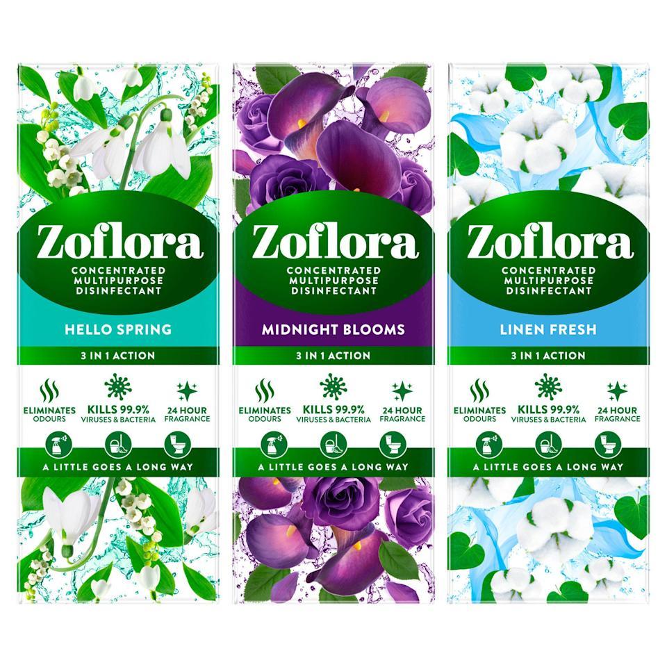 """<strong>Zoflora</strong><br><br>Disinfectant and odour neutraliser in one, Zoflora is the secret ingredient in many cleaning TikTok concoctions. From <a href=""""https://www.tiktok.com/@kingoftheclean/video/6878751655047875841?is_copy_url=0&is_from_webapp=v1&sender_device=pc&sender_web_id=6896464939607852550"""" rel=""""nofollow noopener"""" target=""""_blank"""" data-ylk=""""slk:cleaning out smelly drains"""" class=""""link rapid-noclick-resp"""">cleaning out smelly drains</a> to <a href=""""https://www.tiktok.com/@cleanwith_kayleigh/video/6901324691328240897?is_copy_url=0&is_from_webapp=v1&sender_device=pc&sender_web_id=6896464939607852550"""" rel=""""nofollow noopener"""" target=""""_blank"""" data-ylk=""""slk:disinfecting your phone case"""" class=""""link rapid-noclick-resp"""">disinfecting your phone case</a> or just making your <a href=""""https://www.tiktok.com/@cleanwithbecky/video/6902829678432734466?is_copy_url=0&is_from_webapp=v1&sender_device=pc&sender_web_id=6896464939607852550"""" rel=""""nofollow noopener"""" target=""""_blank"""" data-ylk=""""slk:home smell really nice"""" class=""""link rapid-noclick-resp"""">home smell really nice</a>, Zoflora is a real multitasker. It helps that it smells amazing.<br><br><strong>Zoflora</strong> Concentrated Disinfectant & Odour Neutraliser, $, available at <a href=""""https://www.sainsburys.co.uk/gol-ui/product/zoflora-concentrated-disinfectant---odour-neutraliser-120ml"""" rel=""""nofollow noopener"""" target=""""_blank"""" data-ylk=""""slk:Sainsbury's"""" class=""""link rapid-noclick-resp"""">Sainsbury's</a>"""