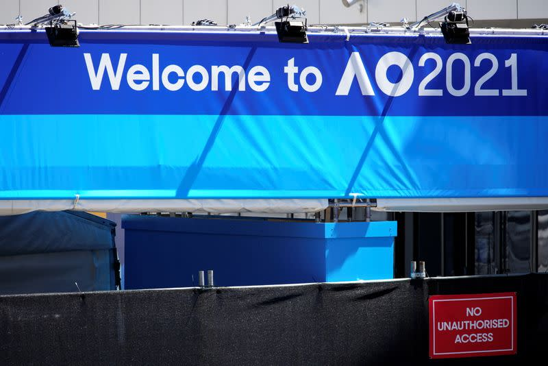 A sign is seen at the entrance to the Australian Open training grounds in Melbourne