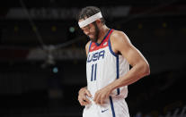 <p>SAITAMA, JAPAN - JULY 28: (BILD ZEITUNG OUT) Javale Mc Gee of USA ,laughs,smiles during the Basketball Preliminary Round Group A Match between United States and Islamic Republic of Iran on day five of the Tokyo 2020 Olympic Games at Saitama Super Arena on July 28, 2021 in Saitama, Japan. (Photo by Berengui/DeFodi Images via Getty Images)</p>