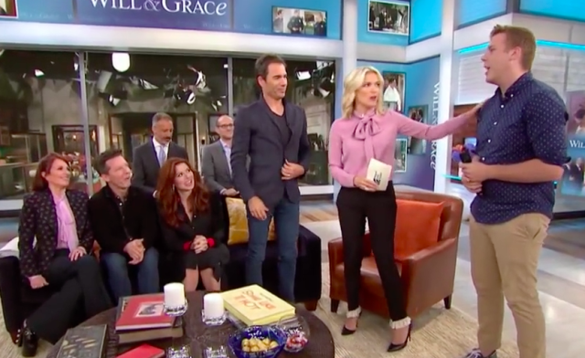 Megyn Kelly makes a failed attempt at humor with a Will & Grace superfan. (Photo: NBC)