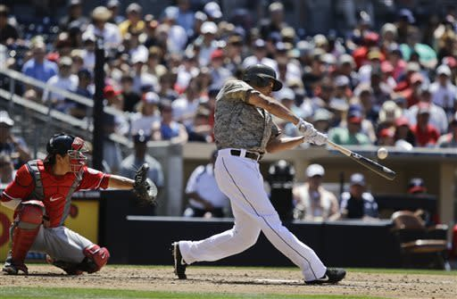 San Diego Padres' Will Venable, right, hits a solo home run against the Washington Nationals during the fifth inning of a baseball game in San Diego, Sunday, May 19, 2013. (AP Photo/Lenny Ignelzi)