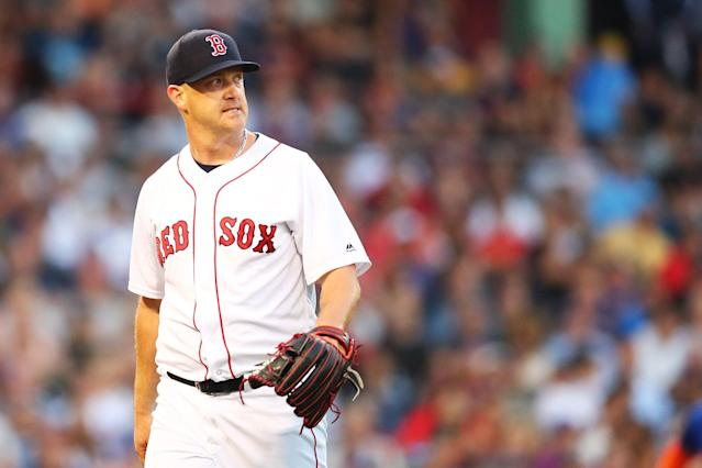 "<a class=""link rapid-noclick-resp"" href=""/mlb/players/9370/"" data-ylk=""slk:Steven Wright"">Steven Wright</a> told reporters he ""couldn't figure out how this substance got into my body."" (Getty)"