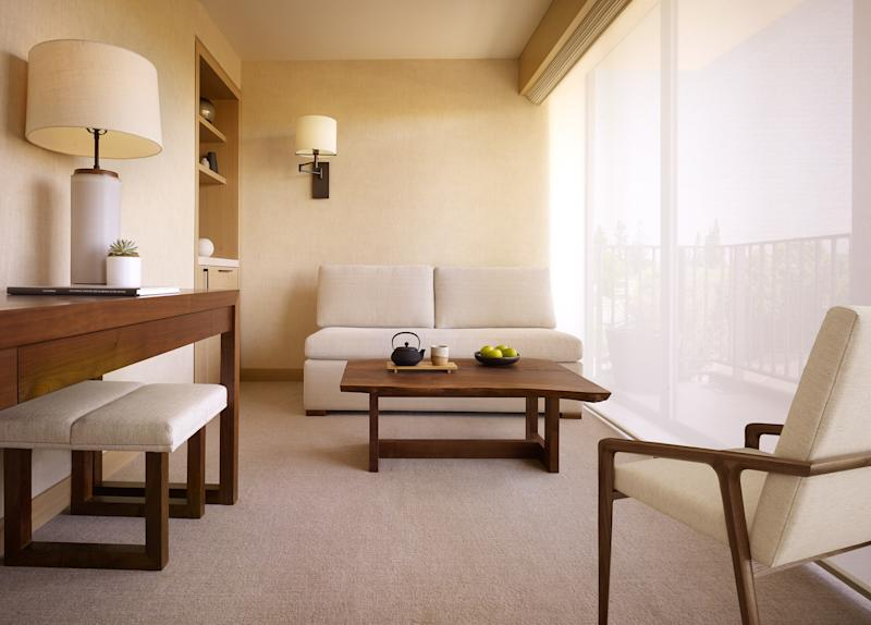 The junior suites at the Palo Alto location feature a Zen-like sitting area.