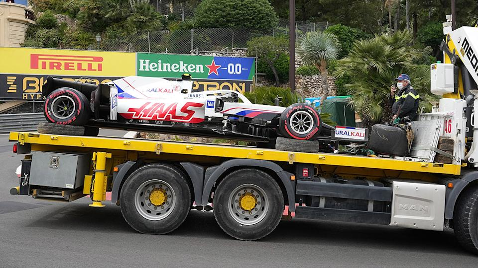 Mick Schumacher's car, pictured here being towed away after the accident.