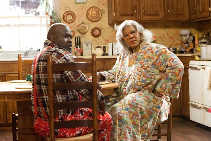 Brown (David Mann) and Madea (Tyler Perry) in Tyler Perry's Madea's Big Happy Family. (Photo: Lionsgate/Tyler Perry Studios)