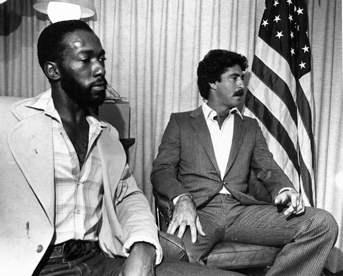 Ernest Hammett, left, and Mark Kram are seen in this Sept. 7, 1982 file photo. Kram chased Carl Brown five blocks in his 1981 Lincoln Continental and fired a warning shot. Then, Kram recalled, he rammed into Brown with his car when he thought the cyclist was reaching for his shotgun. Brown left eight men and women dead and three others wounded at Bob Moore's Welding and Machine Service, 3147 NW North River Dr. during a shooting rampage in August of 1982. Hammett, an employee of General Metals which was across the street from scene accompanied Kram after he flagged Kram down. Brown killed owner Bob Moore's mother, Ernestine Moore, 67; his uncle, Mangum Moore, 78, the bookkeeper; Carl Lee, 47, the manager; Martha Steelman, 29, a secretary; Lonie Jeffries, 53, a crane operator; Juan Trespalacios, 38, a machinist; Pedro Vasques, 44, the shop foreman; and Nelson Barrios, 46, a welder.
