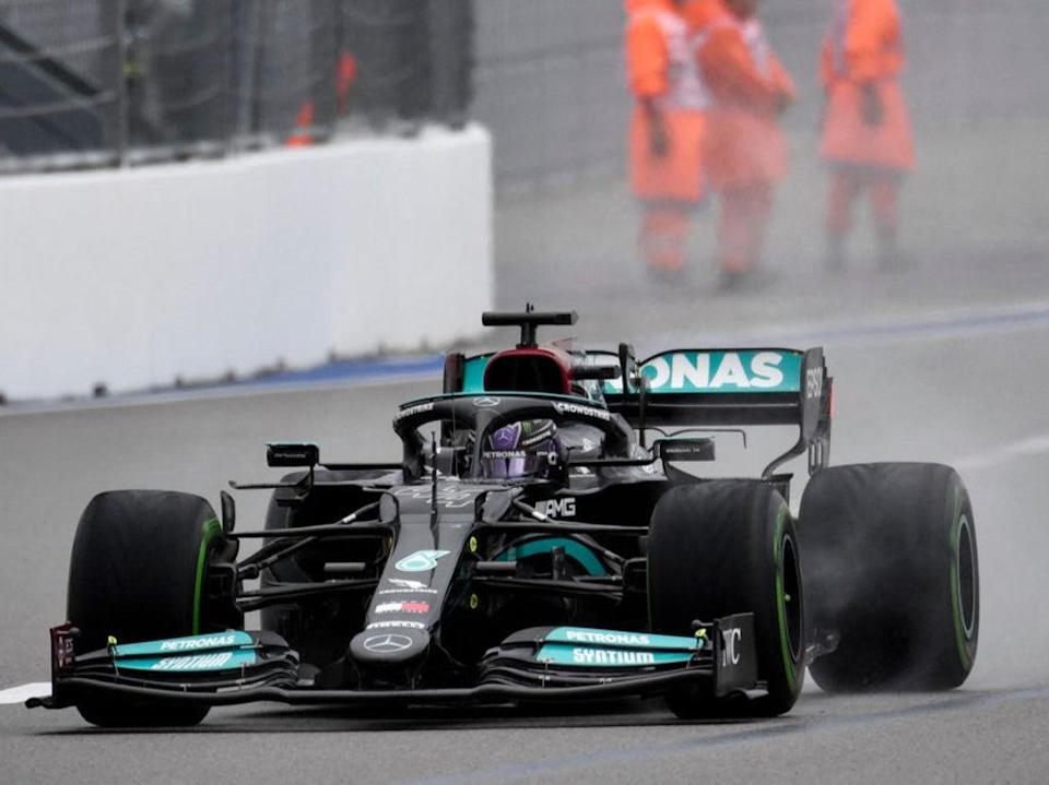 Hamilton crashed into the pit wall and then spun into the wall during his final flying lap (AFP via Getty Images)