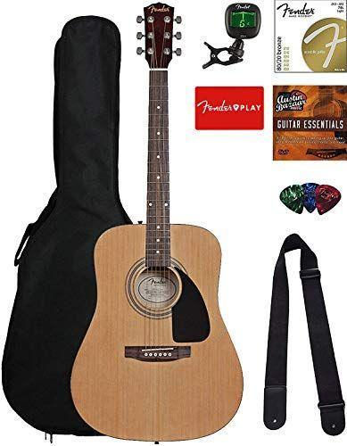 "<p><strong>Fender</strong></p><p>amazon.com</p><p><strong>$199.99</strong></p><p><a href=""https://www.amazon.com/dp/B07C5XV47T?tag=syn-yahoo-20&ascsubtag=%5Bartid%7C10050.g.29775459%5Bsrc%7Cyahoo-us"" rel=""nofollow noopener"" target=""_blank"" data-ylk=""slk:Shop Now"" class=""link rapid-noclick-resp"">Shop Now</a></p><p>A guitar ""bundle"" is a great gift for any first-time musician. It features the guitar itself, plus a gig bag, tuner, strings, strap, picks, and more.</p>"