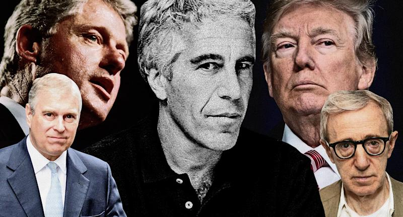 Jeffrey Epstein has been linked to many politicians and celebs over the years, including, clockwise from top left, Bill Clinton, Donald Trump, Woody Allen and Prince Andrew. (Photos: Getty Images/Quinn Lemmers for Yahoo Lifestyle)
