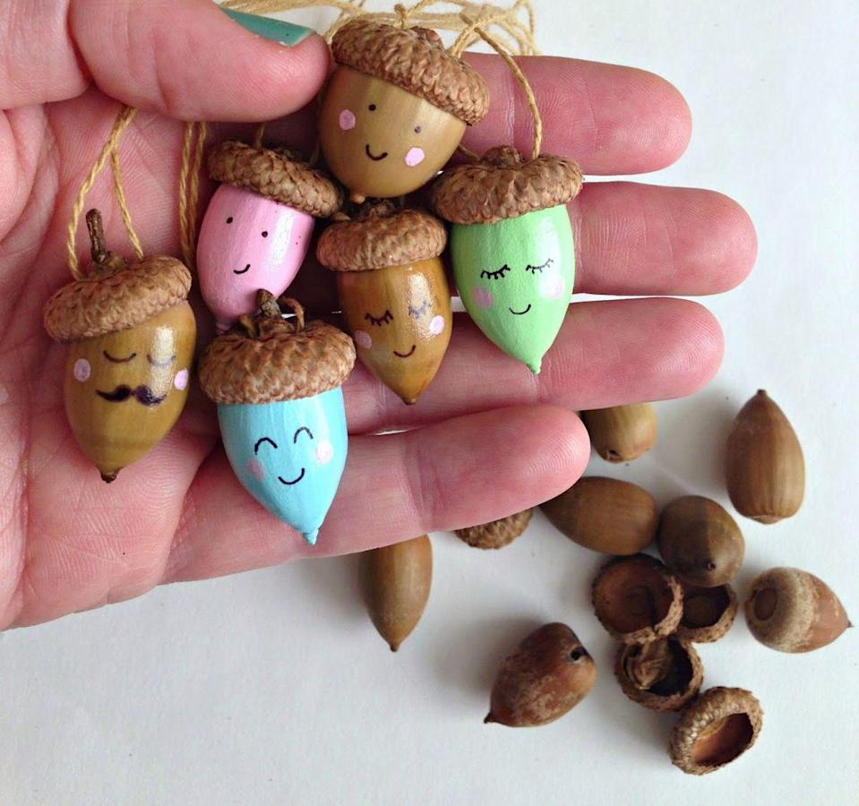 """<p>If your kids love collecting acorns, they'll have enough to make a whole community of happy acorn necklace characters. This craft does involve drilling holes in the acorn tops to put the string through, so this one's gonna need some parental involvement.<br></p><p><em><a href=""""http://www.whimsy-love.com/2014/11/diy-happy-acorn-necklaces.html"""" rel=""""nofollow noopener"""" target=""""_blank"""" data-ylk=""""slk:Get the tutorial at Whimsy Love »"""" class=""""link rapid-noclick-resp"""">Get the tutorial at Whimsy Love »</a></em></p>"""