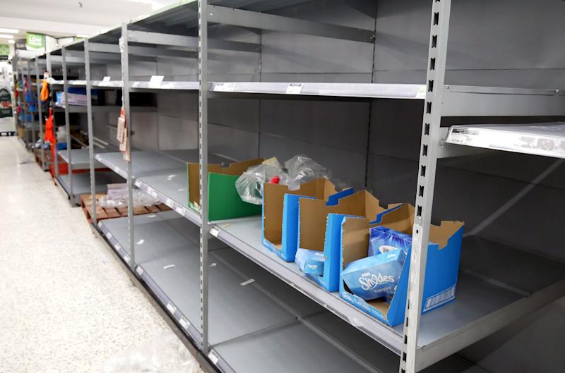 Empty toilet roll shelves in Asda Hyson Green in Nottingham.Photo credit should read: James Warwick/EMPICS Entertainment.