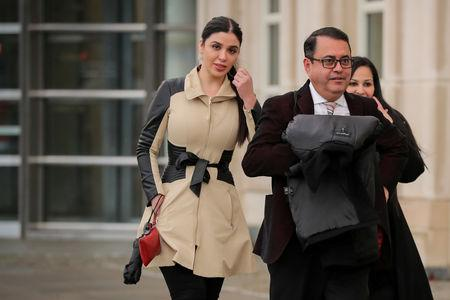 "Emma Coronel Aispuro, the wife of Joaquin Guzman, the Mexican drug lord known as ""El Chapo"", exits the Brooklyn Federal Courthouse, during the trial of Guzman in the Brooklyn borough of New York, U.S., January 24, 2019.  REUTERS/Brendan McDermid"