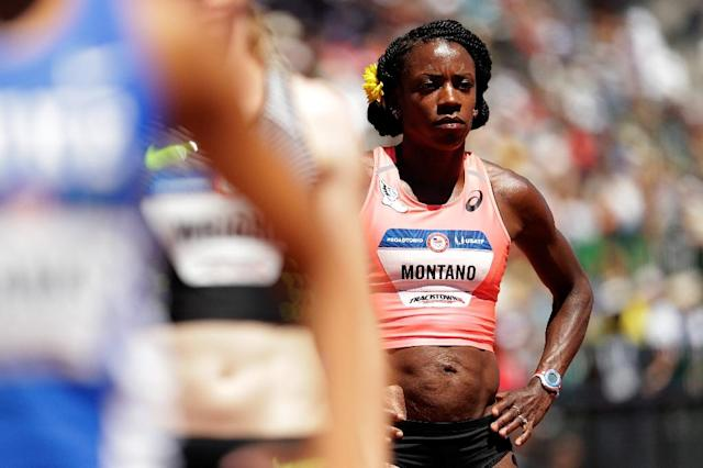 Alysia Montano, seen prior to the 800m semi-finals during the 2016 US Olympic Track & Field Team Trials, in Eugene, Oregon (AFP Photo/ANDY LYONS)