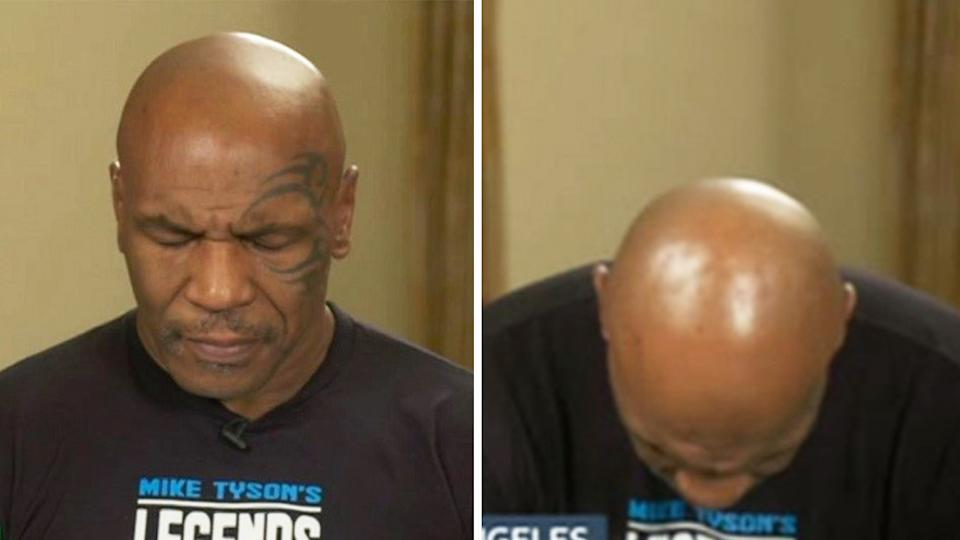 Mike Tyson (pictured) slurring his words and dropping his head in exhaustion during an interview.