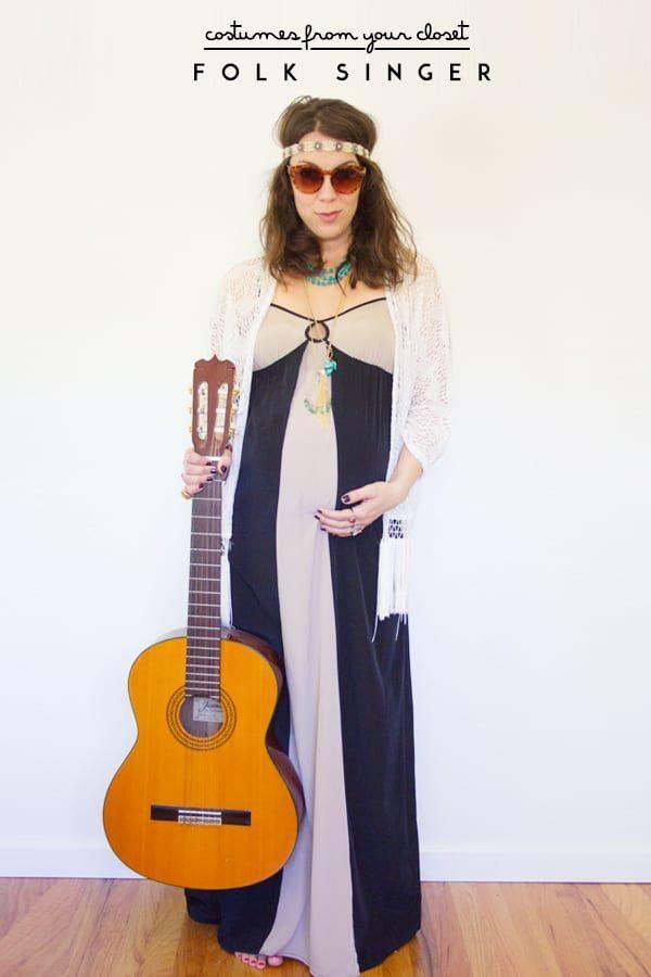 """<p>To channel your inner hippie, top a flowy maxi dress with a lace cardigan, throw on a beaded headband and a pair of shades, and tote around a guitar. </p><p><a class=""""link rapid-noclick-resp"""" href=""""https://lovelyindeed.com/costumes-closet-folk-singer/"""" rel=""""nofollow noopener"""" target=""""_blank"""" data-ylk=""""slk:GET THE TUTORIAL"""">GET THE TUTORIAL</a></p><p><a class=""""link rapid-noclick-resp"""" href=""""https://www.amazon.com/Teenitor-Rhinestone-Headbands-Accessories-Multicolor/dp/B07GF8K9VC?tag=syn-yahoo-20&ascsubtag=%5Bartid%7C10072.g.33547559%5Bsrc%7Cyahoo-us"""" rel=""""nofollow noopener"""" target=""""_blank"""" data-ylk=""""slk:SHOP HEADBAND"""">SHOP HEADBAND</a></p>"""