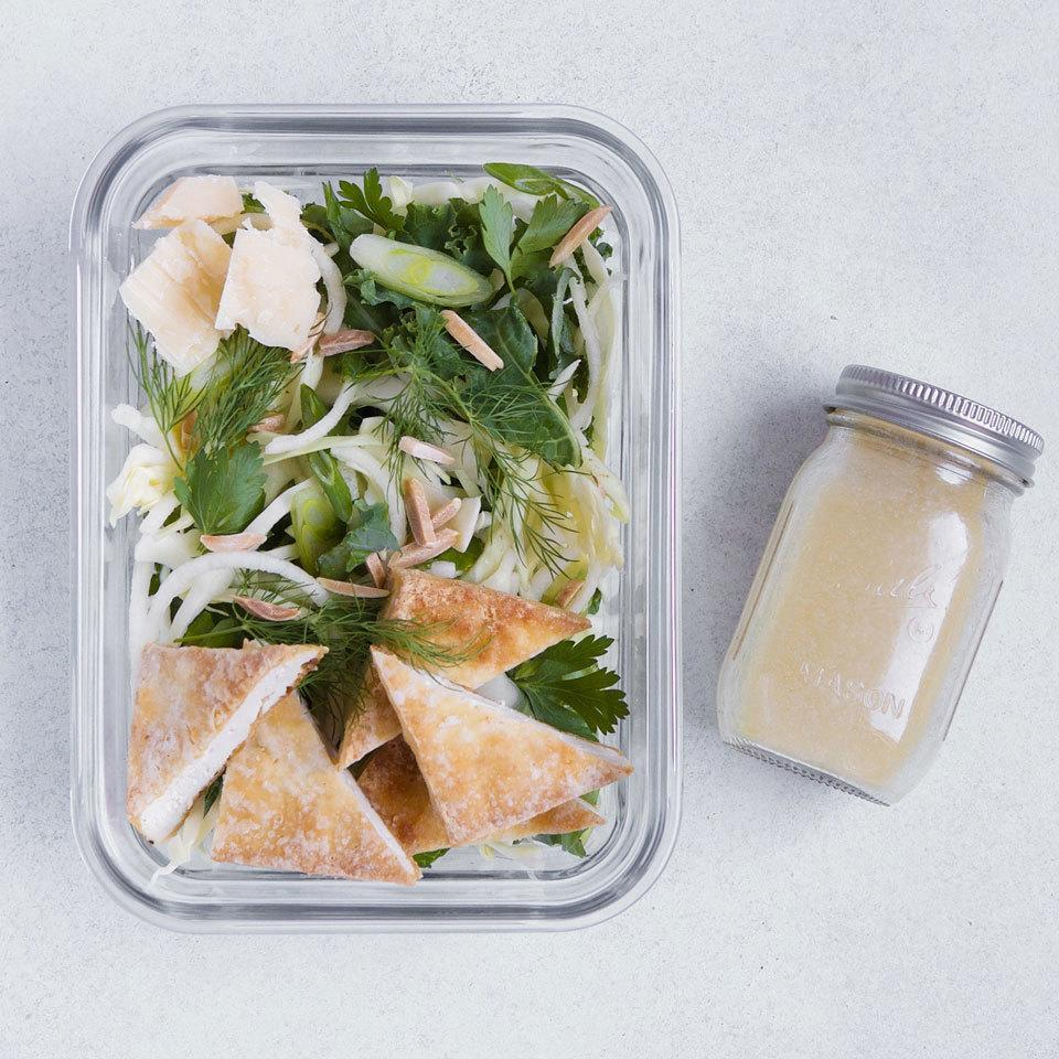 <p>Baked tofu adds meatiness and protein this healthy packable lunch salad. A topping of toasted almonds and Parmesan adds a layer of nuttiness, and honey-mustard vinaigrette gives everything a sweet-tangy finish.</p>