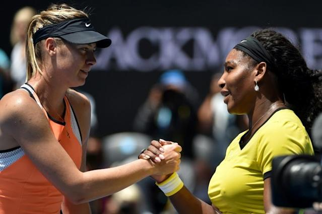 Serena Williams, right, and Maria Sharapova will meet in Monday's much-anticipated first-round women's match at the US Open (AFP Photo/SAEED KHAN)
