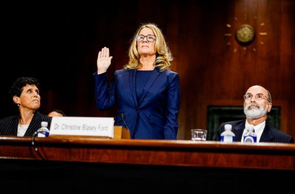 PHOTO: Christine Blasey Ford swears in at a Senate Judiciary Committee hearing on Thursday, September 27, 2018 on Capitol Hill. (Melina Mara/Pool/The Washington Post via Getty Images)