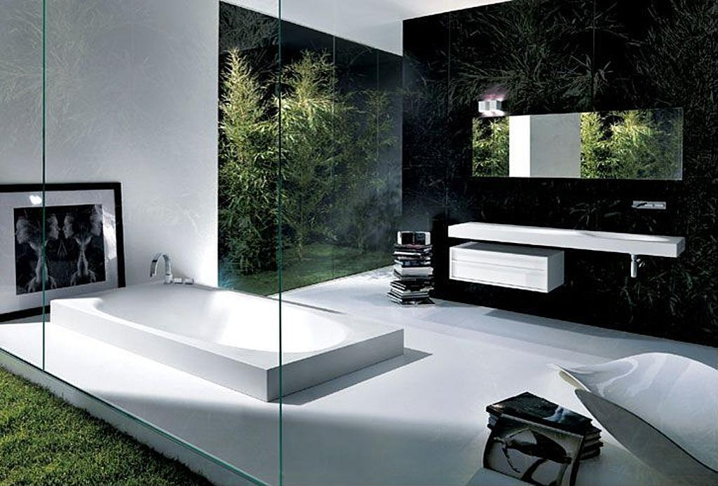 <strong>Melt into the Floor</strong>' <br /> <p>Bold enough to bathe outside? This all-glass bath is enclosed, but the green surroundings makes it feel as if its set deep in a forest. The in-ground tub has an estimate cost of $2,300.</p>