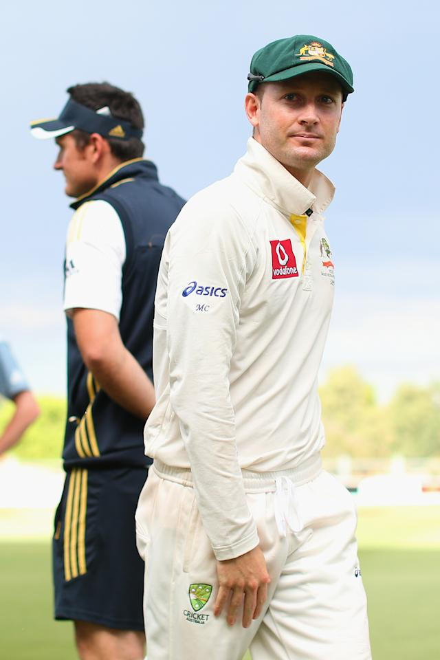 ADELAIDE, AUSTRALIA - NOVEMBER 26:  Australian captain Michael Clarke walks past South African captain Graeme Smith following the end of play on day five of the Second Test Match between Australia and South Africa at Adelaide Oval on November 26, 2012 in Adelaide, Australia.  (Photo by Cameron Spencer/Getty Images)