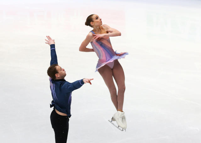 Figure Skating - World Figure Skating Championships - The Mediolanum Forum, Milan, Italy - March 21, 2018 Israel's Paige Conners and Evgeni Krasnopolski during the Pairs Short Programme REUTERS/Alessandro Bianchi
