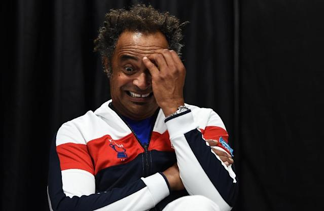 Plenty to think about: France captain Yannick Noah at Friday's draw (AFP Photo/ANNE-CHRISTINE POUJOULAT)