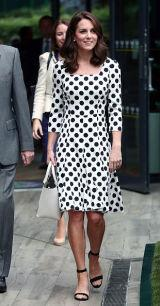 """<p><span>July 3</span><em>, 2017</em><em> - </em><span></span>The Duchess showed off her new haircut by wearing a black and white polka dot Dolce & Gabbana dress at Wimbledon. <span>You can <a rel=""""nofollow"""" href=""""https://www.net-a-porter.com/us/en/product/808371/dolce_and_gabbana/polka-dot-cady-dress"""">snag a similar one</a> from the designers for (wait for it ...) $1,500 or go with this <a rel=""""nofollow"""" href=""""https://www.amazon.com/ABERRY-Women-Stylish-Retro-White/dp/B01M3WXMZT?tag=syndication-20"""">look-alike dress</a> that's $20 on Amazon. </span></p><p><span></span></p>"""