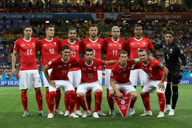 Soccer Football - World Cup - Group E - Brazil vs Switzerland - Rostov Arena, Rostov-on-Don, Russia - June 17, 2018 Switzerland players pose for a team group photo before the match REUTERS/Marko Djurica