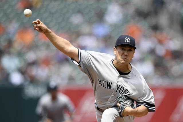New York Yankees starting pitcher Masahiro Tanaka, of Japan, delivers during the fourth inning of a baseball game against the Baltimore Orioles, Thursday, May 23, 2019, in Baltimore. (AP Photo/Nick Wass)