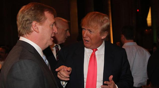 NFL commissioner Roger Goodell was asked Thursday by ESPN's Mike Greenberg for his opinion on Donald Trump's quip about Colin Kaepernick.