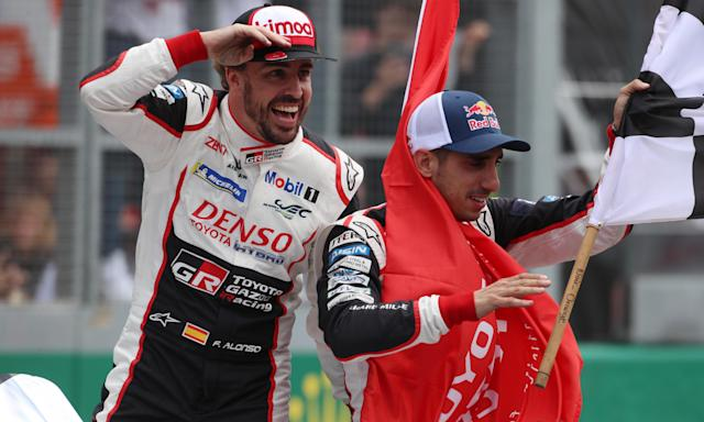 Fernando Alonso, left, and his teammate Sebastien Buemi show their delight after victory at Le Mans.