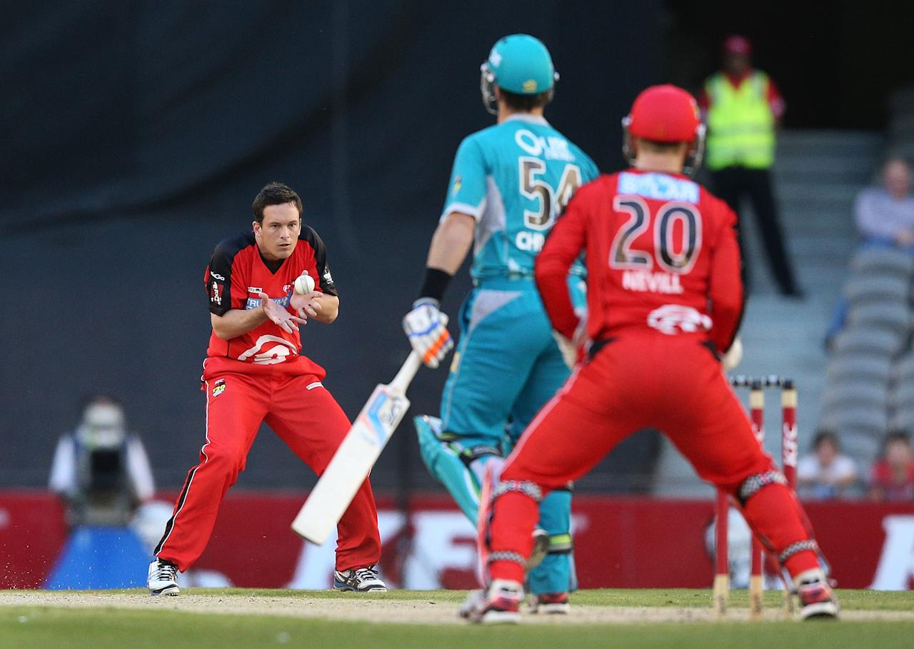 MELBOURNE, AUSTRALIA - DECEMBER 22:  Aaron O'Brien of the Melbourne Renegades catches out Daniel Christian of the Brisbane Heat during the Big Bash League match between the Melbourne Renegades and the Brisbane Heat at Etihad Stadium on December 22, 2012 in Melbourne, Australia.  (Photo by Michael Dodge/Getty Images)
