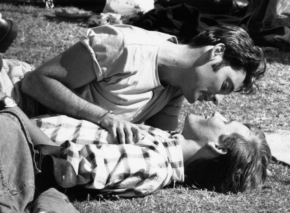 <p>A young couple enjoy each others company during the '96 Pride Festival in London.<br></p>