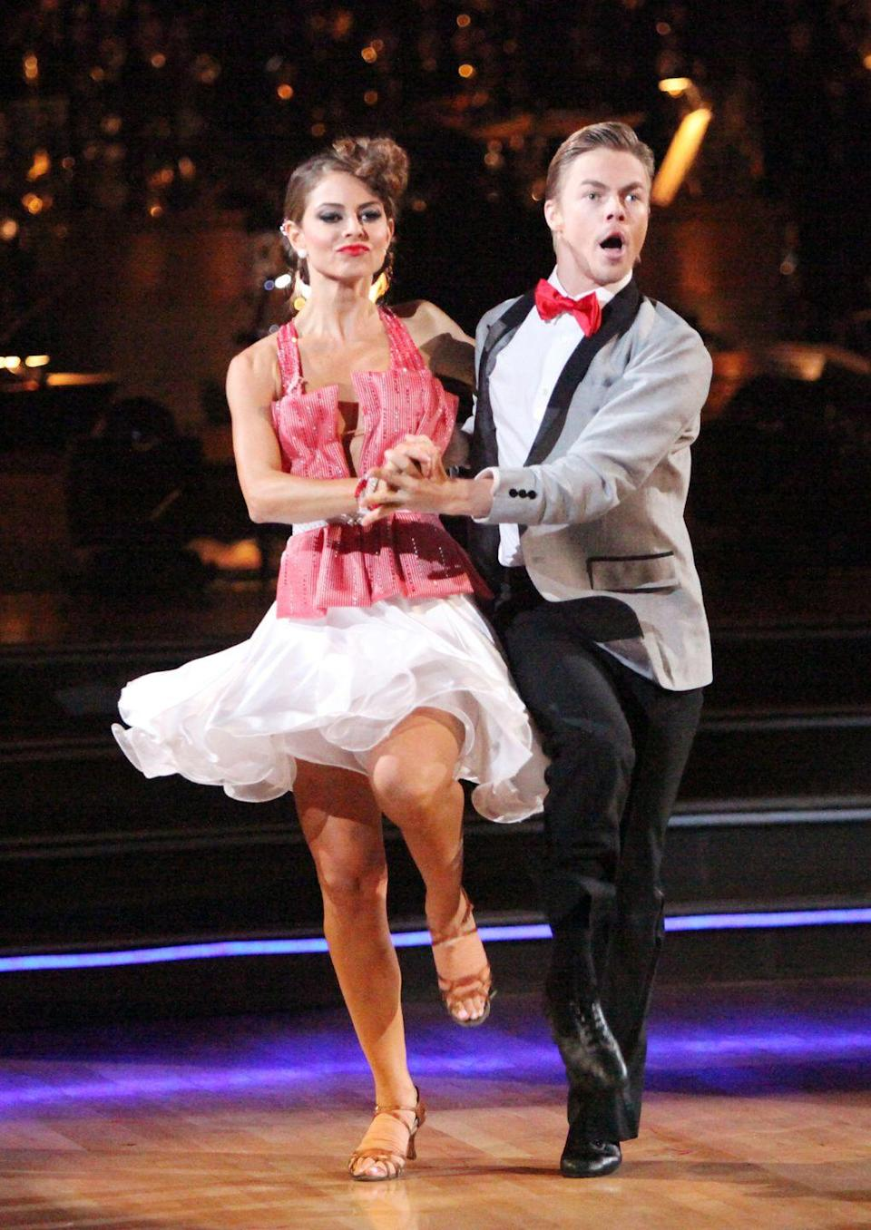 "<p>Partnered with Derek Hough for season 14, Maria proved her claim to a ""high tolerance for pain."" The <em>Extra</em> host continued dancing through a ripped intercostal muscle, broken ribs, <em>and</em> a stress fracture in her foot, per <em><a href=""https://people.com/tv/dancing-with-the-stars-maria-menounos-breaks-ribs-dances-on/"" rel=""nofollow noopener"" target=""_blank"" data-ylk=""slk:People"" class=""link rapid-noclick-resp"">People</a></em>. ""Dance broken"" became her motto and she said it gave her an edge on her competitors.</p>"