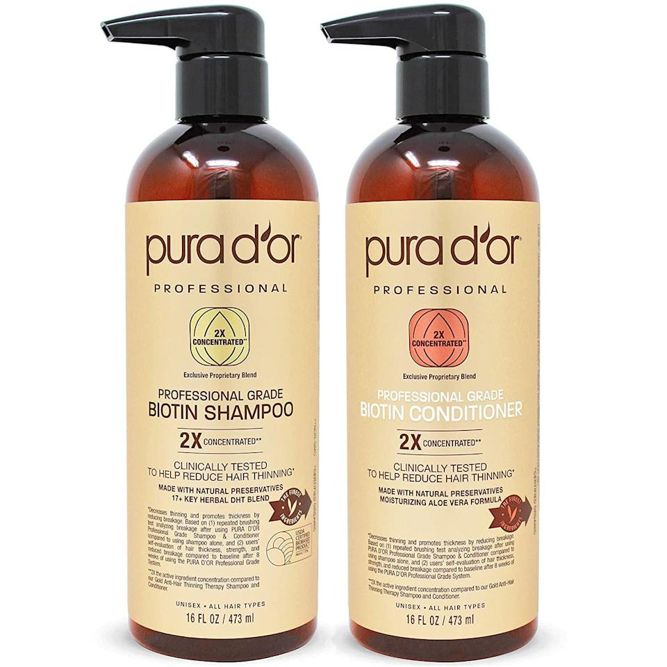 PURA D'OR Professional Grade Anti-Hair Thinning 2X Concentrated Actives Biotin Shampoo & Conditioner