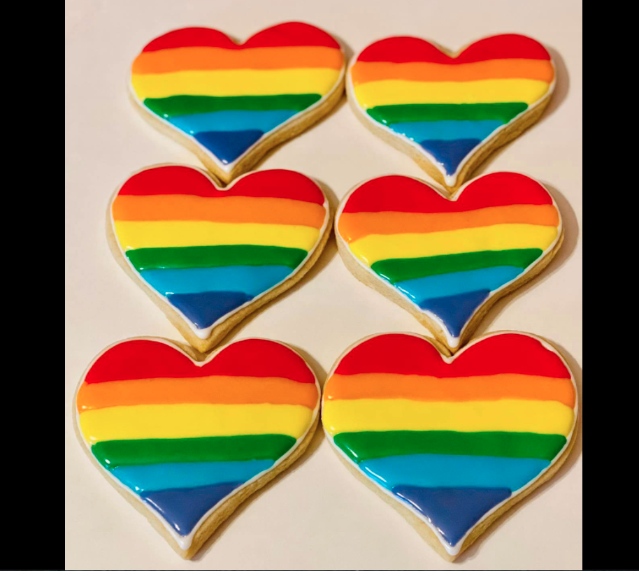 """""""More LOVE. Less hate,"""" read a Facebook post featuring these Pride cookies, made by Confections bakery in Texas. (Photo: Facebook)"""