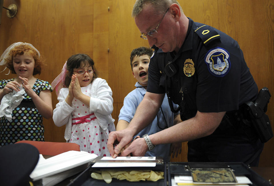 "Capitol Police Officer Howard Liebengood at a ""Kid Safety Day"". Source: Getty"