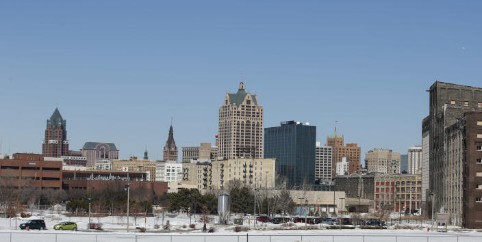 The downtown area is seen in Milwaukee, Wisconsin on March 11, 2019. (Photo by Kamil Krzaczynski / AFP via Getty Images)