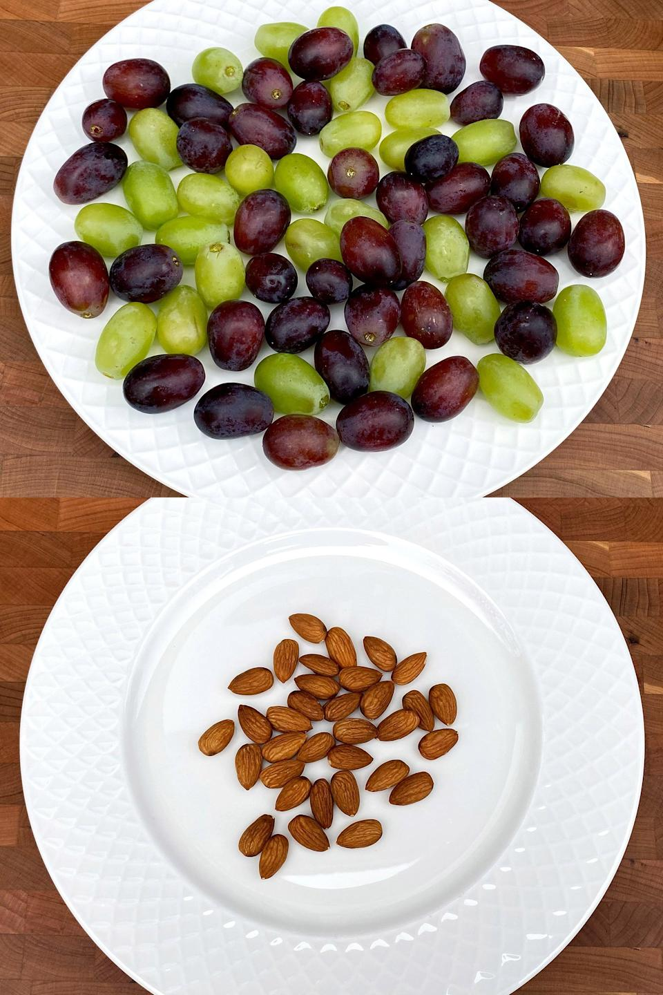 <p>You could eat 4 cups of grapes or 30 almonds for 200 calories. Which would fill you up more? Most people couldn't eat that many grapes, but that's just a small handful of almonds - it's easy to go back for another handful, which would be closer to 300 or 400 calories. See how easy it is to overeat on high-calorie-density foods?</p>