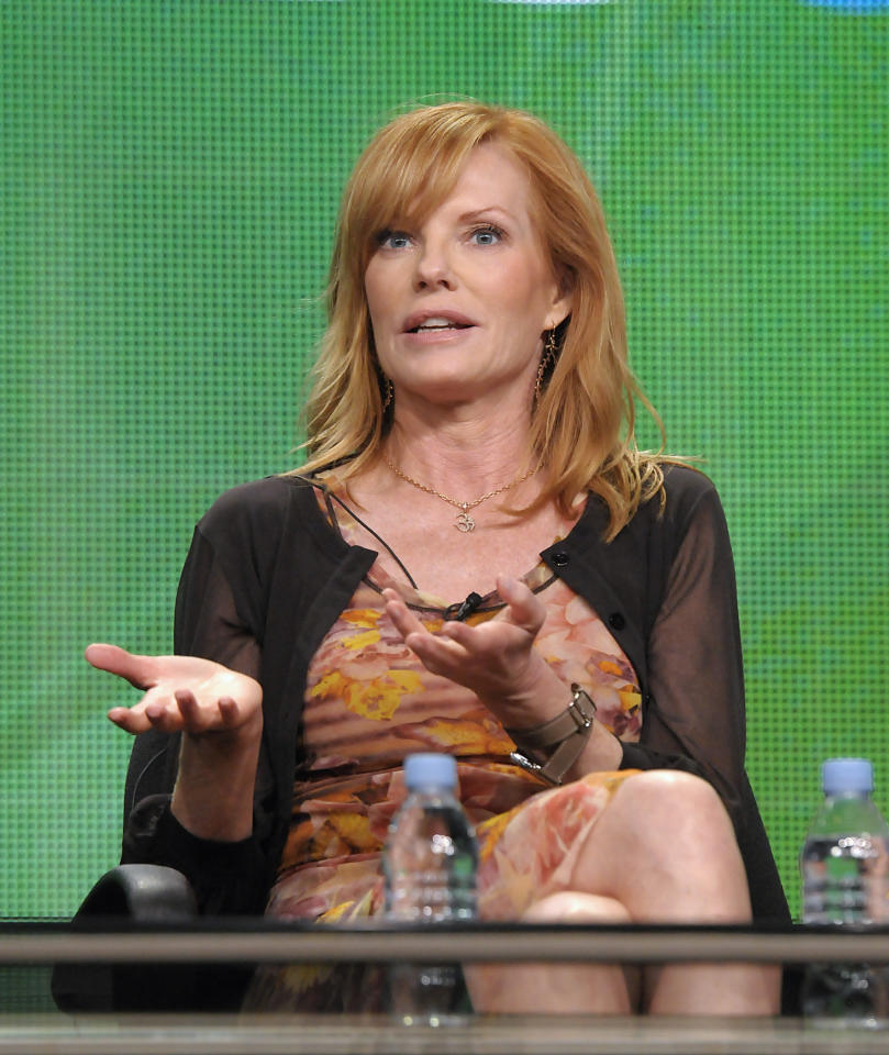"Actress Marg Helgenberger speaks during a panel at the The Television Critics Association 2011 Summer Press Tour in Beverly Hills, Calif. on Wednesday, Aug. 3, 2011. Helgenberger stars in the television series ""CSI: Crime Scene Investigation"" on CBS. (AP Photo/Dan Steinberg)"