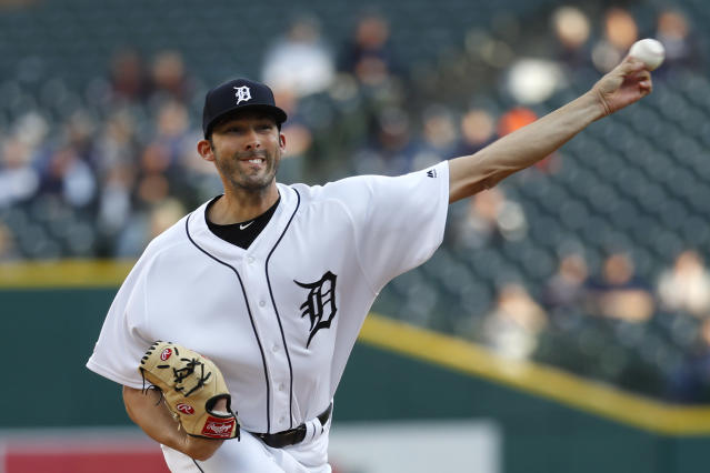 Detroit Tigers pitcher Ryan Carpenter throws to a Houston Astros batter during the first inning of a baseball game in Detroit, Tuesday, May 14, 2019. (AP Photo/Paul Sancya)