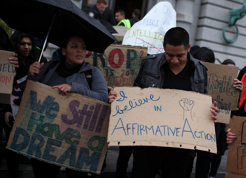 People protested Prop 209, California's anti-affirmative action law, in San Francisco back in 2012. Eight years later, voters could finally overturn it.  (Photo: Justin Sullivan via Getty Images)