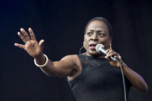 <p>Sharon Jones, the R&B singer known for leading her band Sharon Jones and the Dap-Kings, died of pancreatic cancer on November 18, at age 60. — (Pictured) Sharon Jones and the Dap-Kings seen at Forecastle Music Festival at Waterfront Park in 2014, in Louisville, Ky. (Amy Harris/Invision/AP) </p>