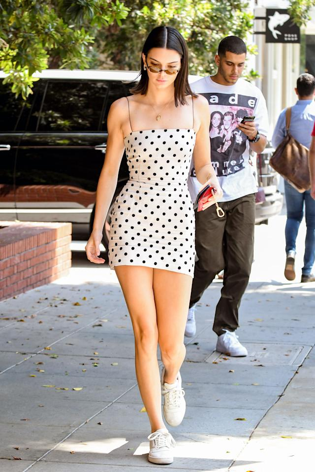 <p>Kendall was a vintage dream in a black-and-white polka dot dress by Bec + Bridge.<br /><i>[Photo: Rex]</i> </p>