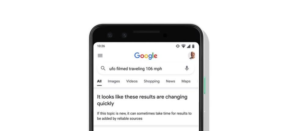 Google Search will show a prompt when results about a topic might be unreliable. - Credit: Google