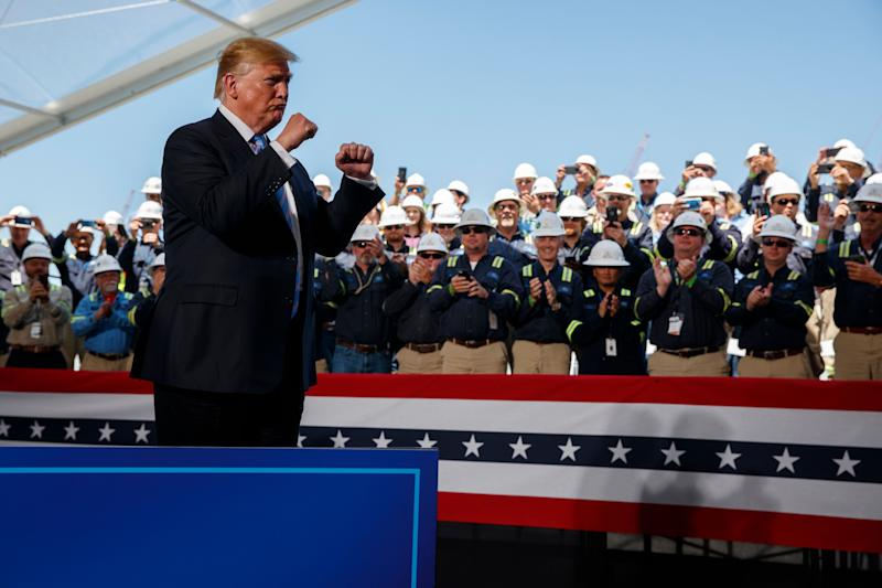President Donald Trump arrives to speak on energy infrastructure at the Cameron LNG export facility, May 14, 2019, in Hackberry, Louisiana.